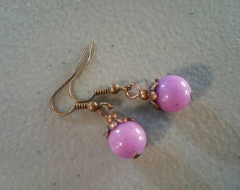 Pink Jade & Copper Dangle Earrings