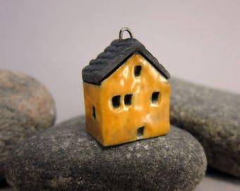 Raku House Pendant...Warm Yellow