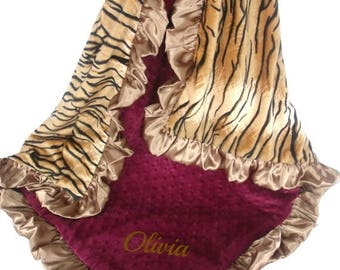 SALE Burgundy and Gold Minky Baby Blanket, Wine and Tiger Print Baby Blanket, Crib Blanket, Baby Blanket, or Lovey choose your size