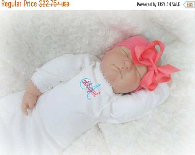SALE Coral and White Personalized Coming Home Baby Gown for Girl, Coral Peach Monogrammed Baby Girl Gown and Matching Pink Headband