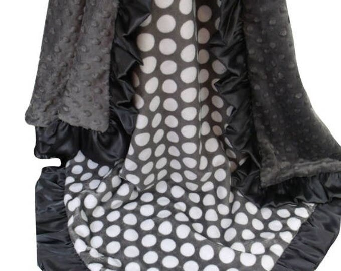 SALE Personalized Ash Charcoal Gray Minky Baby Blanket, Dark Ash Gray Embroidered Minky Blanket, Monogrammed White and Gray Polka Dot Blanke