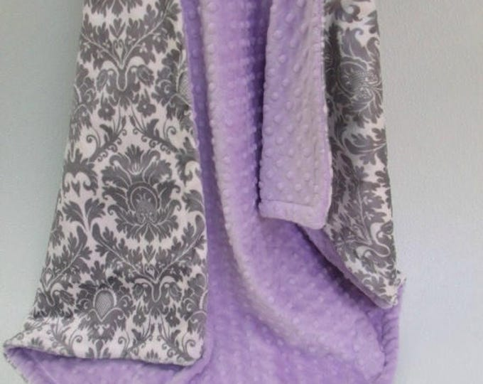SALE Minky baby Blanket Lavender and Gray Damask, Light Purple and Gray Damask Blanket, Baby Girl Blanket Can Be Personalized