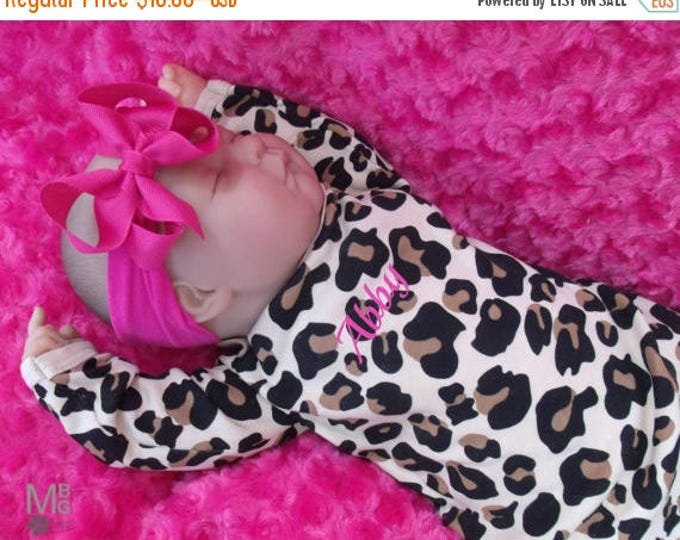 SALE Personalized Coming Home Baby Gown for Girl, Leopard Print Personalized Baby Girl Gown