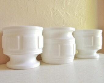 Trio of Matching Milk Glass Compotes Pedestal Bowls Square Geometric Design