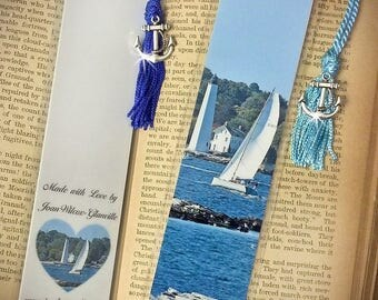 New London Connecticut Lighthouse and Sailboat CT Boating Laminated Fine Art Photography Photo Bookmark w/ Silver Tone Anchor  Charm
