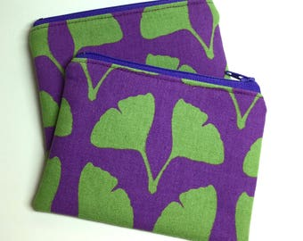Card Zip Wallet, Coin Pouch - Ginkgo Leaves