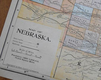 Vintage Nebraska Map Etsy - Us map nebraska state