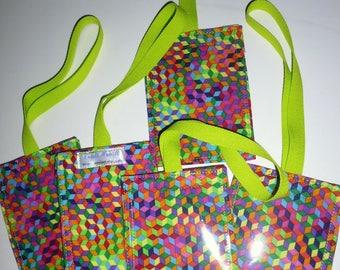 Multi-colored tumbling blocks fabric luggage tag