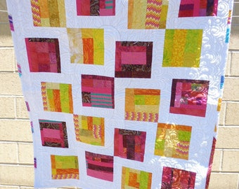 Pink, yellow, and white crib or lap quilt - crazy quilt style