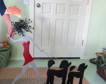 Large Metal Wall Art Poodle Decor Umbrella Lady Walking Dogs Recycled Metal Wall Art 36 x 36 Custom Request Standard Poodle Red And Black