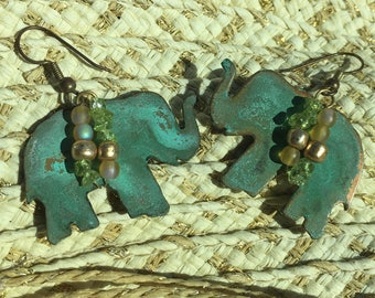 Large Beaded Elephant Dangle Earrings Copper with Green Patina
