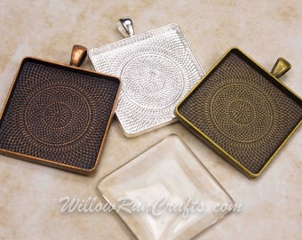 20 pcs 30mm Square Pendant Trays 30mm in Antique Bronze, Antique Copper and Silver Plated, Blank Bezel Cabochon Setting