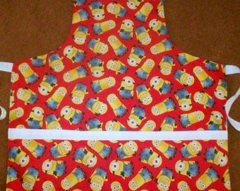MINIONS RED  Apron, Fully Lined, Large Pockets, Washable