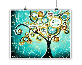 Custom Family Tree Art, Custom Name Keepsake Print, Personalized Gift for Grandparents, Nature Lover Gift
