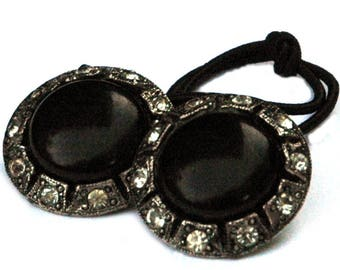 Black and Silver Rhinestone Hair Accessory, Decorative Ponytail Holder, Deco Style, Hair Accessories for Wedding, Holiday, Black Tie Affairs