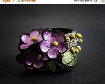 40% OFF SALE Elegant leather flowers cuff bracelet wristband Bohemian Boho Rustic jewelry