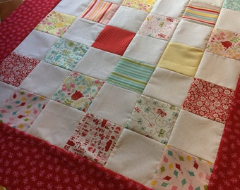 Happy Day by Riley Blake - Unfinished baby sized quilt top - 47 x 38 in / ready to quilt / DIY / floral, girl, gift for her, Lori Whitlock
