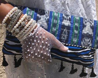 Blue Ikat and Shibori Tie Dye Wrist Strap Clutch Bag