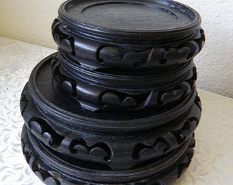 4 Chinese Black Wooden Display Bases For Vases, Statues