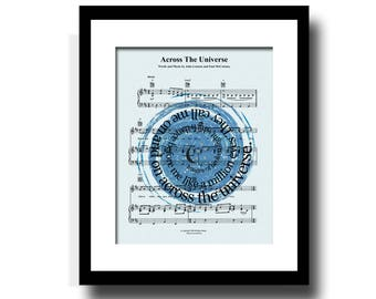 Across The Universe Song Lyric Sheet Music Art Print, Star Constellation Art Print, Spiral Song Lyric Art