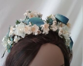 Vintage  Blue Floral Headband Hat  A111