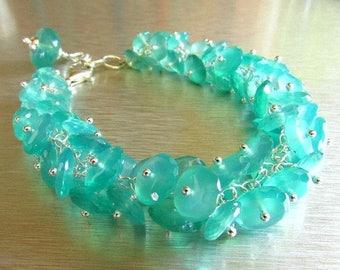 25 OFF Gemstone Cluster Bracelet, Blue Green Onyx Cluster Sterling Silver Bracelet