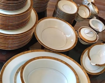 """Noritake China """"Goldkin"""" Pattern, Service for 12, Free shipping in USA, On Sale"""