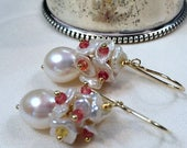 FLASH SALE Sapphire Keishi Pearl Earrings Gold Fill Multicolor Gemstone Red Orange Yellow Wedding Earrings September Birthstone Padparadscha