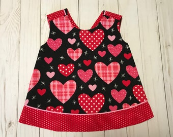 Valentine's Day Outfit - Baby Girl - Red Pink Hearts - Dress Top Shirt Reversible Pinafore