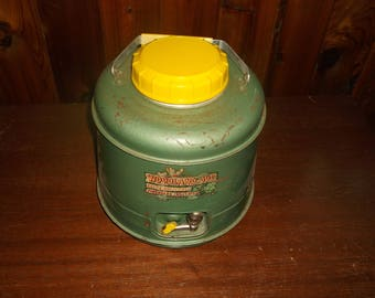 Vintage Woodland Thermos Jug Green Yellow With pouring spout