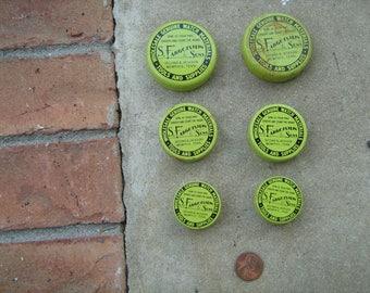 6 empty watch part metal tins altered art collage steampunk S. Fargotstein & sons Memphis, Tn. L-3