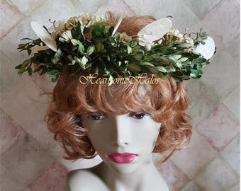 Boxwood head wreath real dried natural silk wisteria money plant fairie elf pixie costume