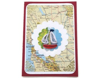 Vintage Map Atlas Card,Free Shipping, Paper Quilled Boat, Paper Quilling Boat, Male Birthday, Fisherman card, USA, San Francisco,Los Angeles