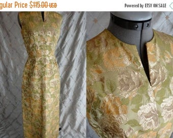 "ON SALE 60s Dress //  Vintage 60's Green and Gold Lame' Maxi Dress Size M 27"" waist glamorous party dress"