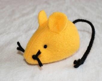 Catnip Mouse - Catnip Rat - Plush Cat Toy - Golden Yellow