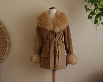 Vintage penny lane leather suede fur coat