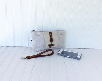 Waxed Linen & Leather Smartphone Wallet, Wristlet, iPhone 7 Wallet, Small Purse