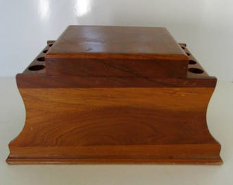 Vintage Walnut pipe rack and Humidor wooden pipe rack 8 tobacco pipe holder walnut pipe rack