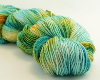 Jest Sparkle 2ply Merino/Nylon/Stellina Sock - Mango and the Salted Sea