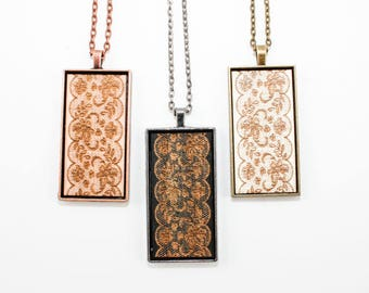 Traditional Lace Pattern Pendant - Engraved Wooden Cameo Necklace (Custom Made / Personalized)