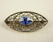 Vintage Sterling Dutch Delft Tile Pod Shaped Brooch