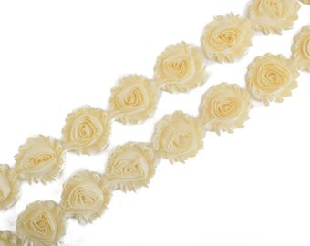 "Buttercup Yellow : 14 Flowers  | 2.5"" Chiffon Craft Roses for Headband DIY Kits 