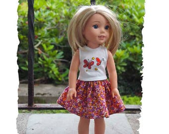 14 inch Doll  Skirt Outift will fit Dolls like  Wellie Wishes - Skirt Outfit Shirt - Butterflfies