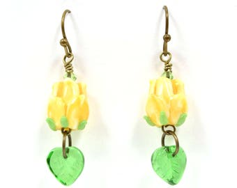 Tulip Glass Bead and Czech Glass Leaf Antique Brass Earrings