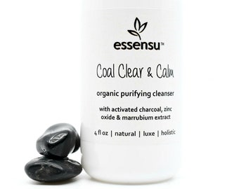 Coal Clear and Calm Activated Charcoal Organic Purifying Facial Cleanser | Clear Blemishes , Detox Pores , Ideal for Oily Skin Vegan - 4 oz