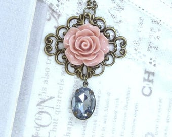 Pink And Gray Necklace Pink Rose Necklace Victorian Flower Necklace Pink Rose Jewelry Pink Floral Necklace