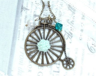 Bike Necklace Victorian Pendant Necklace Vintage Bicycle Necklace Bike Jewelry Penny Farthing