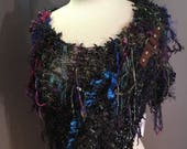 Fringed Large Poncho, Dumpster Diva 'Orchard' Knit handmade offset knit Boho Chic Poncho with fixed clasp, blues, purple, green, Bohemian