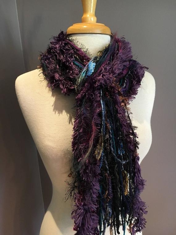 Fringie in Wonderland, All Fringe Scarf - Multitextural hand-tied scarf, purple, aqua, blue, black, yarn scarves, boho chic, ribbon scarf