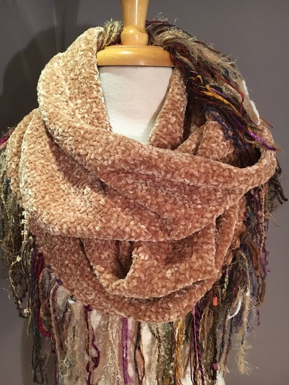 Woven Camel Tan wide infinity scarf with warm tone fringe, 'Showstopper', Ribbon Fringed Woven Round Scarf, Infinity, Poncho, tan wrap